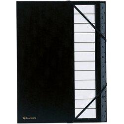 Ordnungsmappe Karton 250g A4 12-teilig schwarz