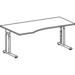 PC-Tisch links Ahorn/Silber Lissabon