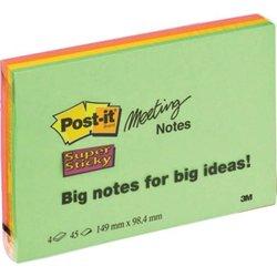 Haftnotiz Post-it 6445-4SS Meeting Notes Neonfarben 149x98,4mm 4x45Bl