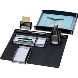 Schreibtisch-Set Buche-Echtholz(schwarz)/Aluminium 6-teilig