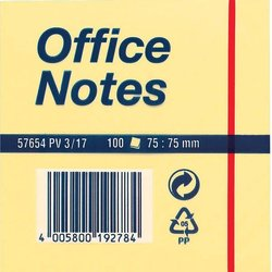 Haftnotiz Tesa 57654 Office Notes 75x75mm gelb 100Bl