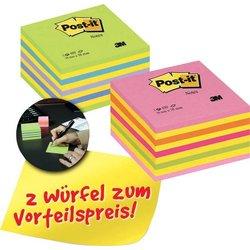 Haftnotiz Post-it 2028NX2+2028GR neon pink, neon grün 76x76mm 2x450Bl