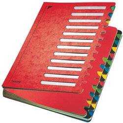 Pultordner Karton 660g A4 24-teilig A-Z rot