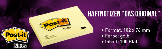 Haftnotiz Post-it 100 Blatt gelb 102x76mm